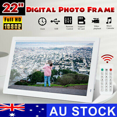 AU 22'' 1080P HD LED Electronic Digital Photo Frame Picture USB MP4 Movie Player