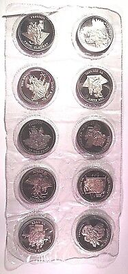 Full Set RIGHT TO & FREEDOM OF 10 - 1oz .999 Silver JOHNSON MATTHEY Coin - RARE!