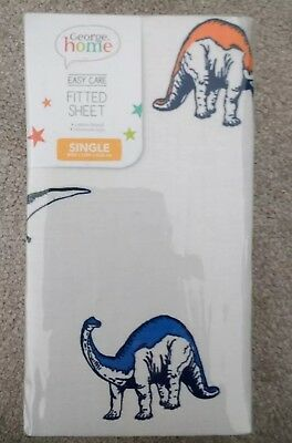 Dinosaur Fitted Sheet For Single Bed Perfect For Boys Bedroom Brand NEW...