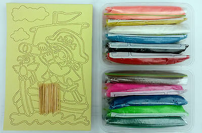 NEW Sand Art Party Kit -15 cards + plastic sleeves, 12 colour sand + spoons, etc