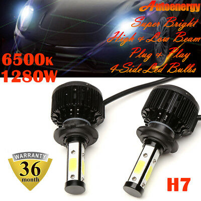 Pair H7 6500K Cool White 4-Side LED Headlight Bulb Kit 12V Hi/ Lo Fog Beam DRL