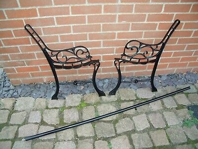 Vintage Cast Iron Garden Seat Park Bench Ends Powder Coated Black