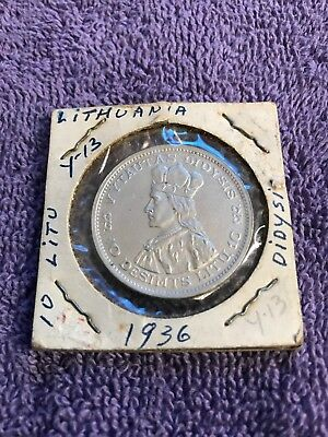 1936 Lithuania- Large Silver 10 Litu Vytautas the Great/ Armored Knight -Nice