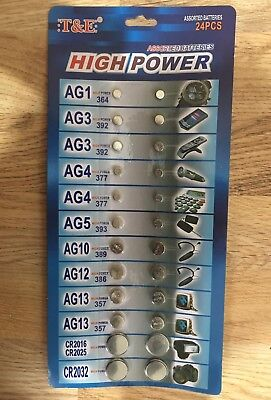 24 Mixed Assorted ALKALINE BUTTON CELLS Batteries AG1/3/4/5/10/12/13/CR2016/2032