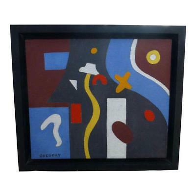 Mid Century Modern Art Abstract Geometric Painting Signed (Neal) Gregory