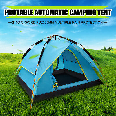Waterproof 3-4 Person Camping Tent Automatic Quick Shelter Outdoor Hiking Family