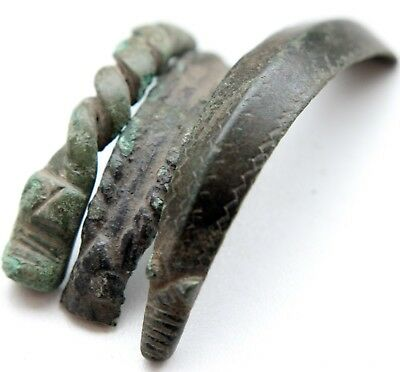 Group Of Ancient Bronze Ornament Hand Bracelet Fragments