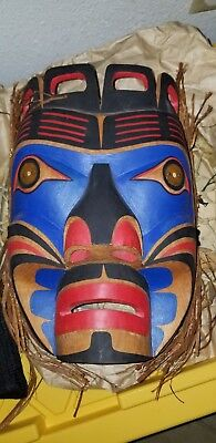 Northwest Coast First Nations native wooden Art carving  MASK, signed, beautiful