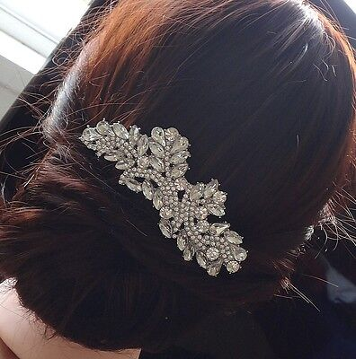 Wedding Bridal Vintage Diamante Rhinestones Crystal Silver Hair Comb Headpiece