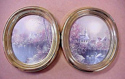 Vintage HOMCO Oval Pictures (2) Church Scenes Pond Lake Swans Gold Frames