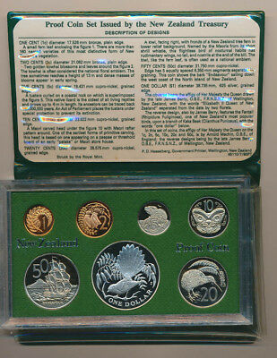 New Zealand: 1980 Proof Set, Cat US$ 50, with .84 oz Silver Bird $1, Fantail