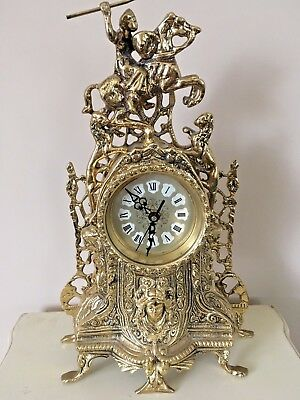 Solid Brass French Rococo Style Reproduction Mantel Clock, Quartz