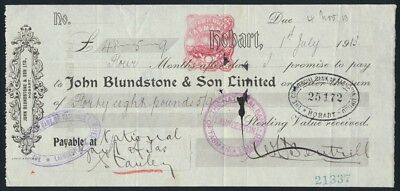 """Australia: 1913 RARE """"JOHN BLUNDSTONE & SON"""" £48/5/9d Sight Note with DUTY STAMP"""