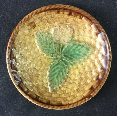 "🔵 Antique Majolica BASKETWEAVE and FLOWER 3 1/8"" Butter Pat - 3 of 3"