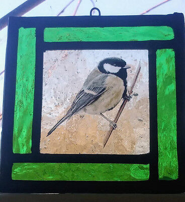 Stained Glass Great Tit Bird  - Kiln fired Traditional lead hanging panel