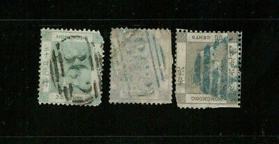 ( HKPNC ) HONG KONG 1863 QV 6c 24c 96c  ALL INVERTED WATERMARK BUT ALL FAULT.
