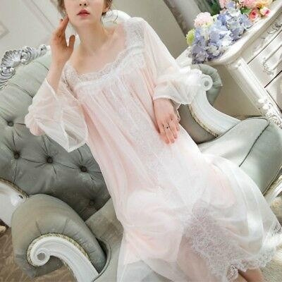 Women Retro Nightdress Lolita Nightgown Sleepwear Lace Sheer Square Collar Girls