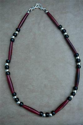 Native American Indian - Red Bison Bone & Black Crow Bead Necklace
