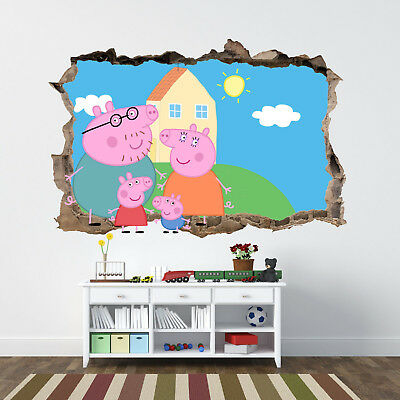 Peppa Pig Characters Wall 3d Smashed Sticker Hole Bedroom Mural Boys Girls