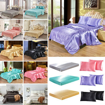 Satin Silk Bedding Set Quilt Duvet Cover Pillowcase Fitted Sheet Flat Sheets