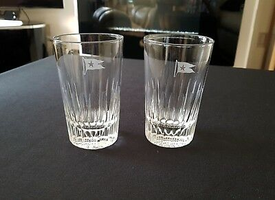Original White Star Line pair of glass tumblers. Olympic & Titanic interest.