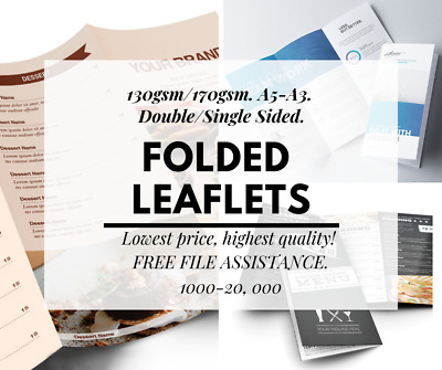 Folded Leaflets Flyers Printing 130-170gsm A5 A4 A3 1000+ Takeaway Menu Business