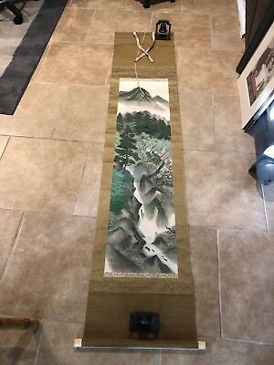 Antique Japanese Scroll - Painted Beautiful Green Forest & Mountain Scene Signed
