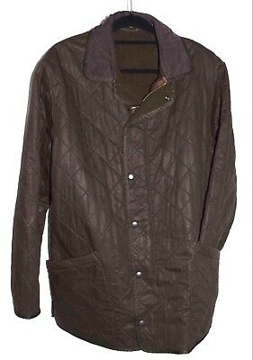 Barbour DURACOTTON Polarquilt Waxed Cotton Jacket  Sz XL Fleece Lined 1955 $299