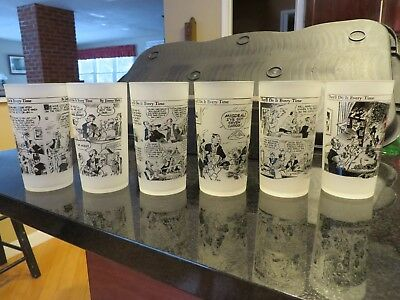 6 JIMMY HATLO They'll Do it Every Time Comic Strip Glasses /Tumblers POKER NIGHT