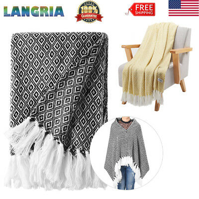 Wearable Throw Fringe Blanket W/Tassels Sofa Coach Bed Soft Warm Blankets 50x60""