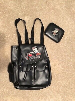 Betty Boop Black Leather Backpack Style Handbag with Wallet