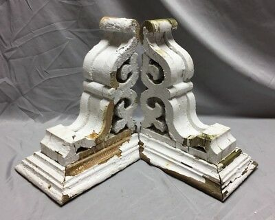 Pr Antique White Roof Corbels Shelf Brackets Shabby Vtg Chic Cornice 31-19M