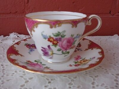 "Aynsley ""Rose Bouquet""  Tea Cup & Saucer - Gold Trim"