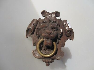 Victorian Carved Wood Lion Head Brass Pull Loop Antique Lions Scrolls Wooden Old