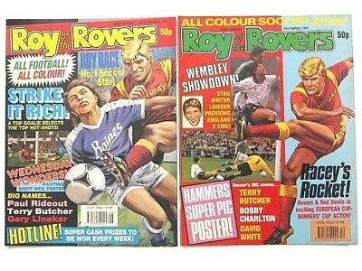 2 x ROY of the ROVERS COMICS. FEB & MAR 1991. GOALMOUTH, PLAYMAKER, HOT SHOT etc