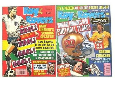 2 x ROY of the ROVERS COMICS. MAR & APR 1991. GOALMOUTH, PLAYMAKER, HOT SHOT etc