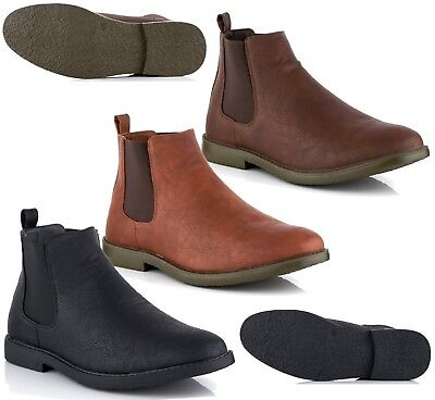 Mens Chelsea Ankle Boots Casual Smart Formal Dealer Work Comfort Sole Shoes Size