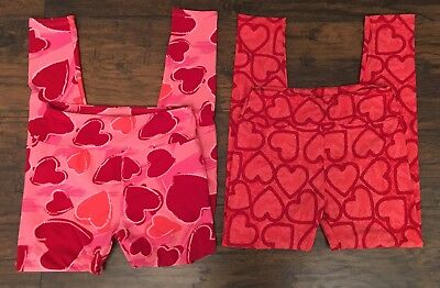 Lot Of 2 * Lularoe Heart Leggings Girls Os One Size Valentine Love Pink Red *
