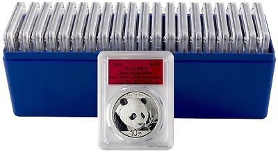 2018 10 Yuan China Silver Panda 30 Gram .999 Silver PCGS MS70 FS Box of 20