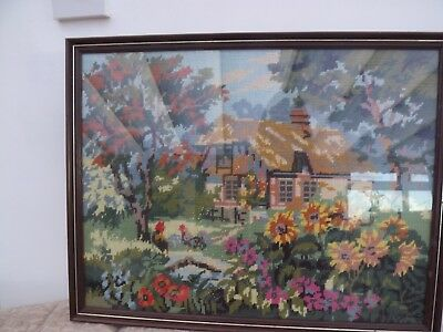 Vintage Picture Framed Handcrafted Cross Stitch Tapestry cottage