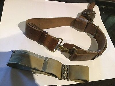 Pair Of Vintage Military Belts & Leather Case