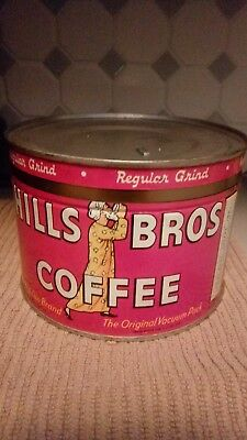Vintage Hills Brothers Coffee Tin-Rare! 1 lb.-Red Can Brand c1922-Key Wind