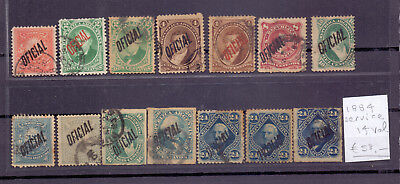 ! Argentina 1884. Official-Use Lot of 14 Stamp. YT#. €53.00 !