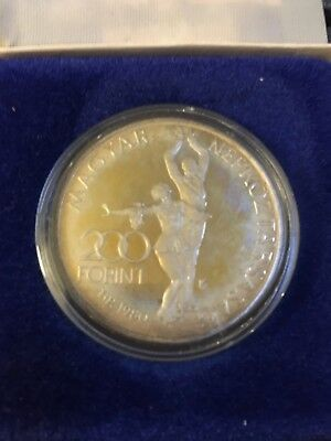 1980 Hungary 200 Forint Piefort Silver Coin XIII Winter Olympic Games