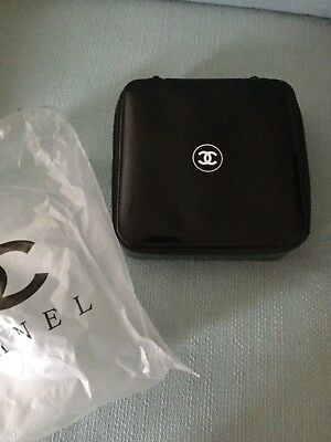 a433d333a350 RARE NIP Chanel Makeup Cosmetic Bag Travel Case Black PU Hard Case Square