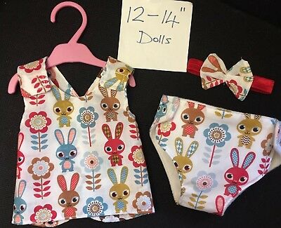"""Dolls Clothes Outfit Dress Nappy Headband Fit Little Baby Born Baby Alive 12-14"""""""