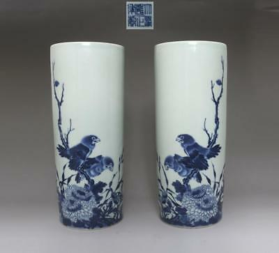 Pair Rare Chinese Blue And White Porcelain Vases Yongzheng Marked 27.5Cm (586)