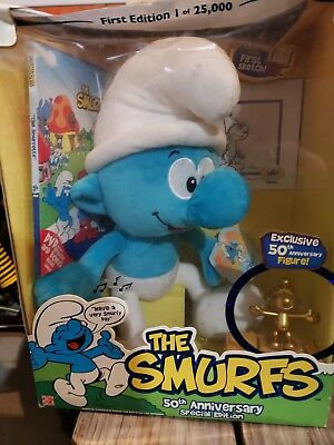 """Smurfs 50th Anniversary Special Edition 12"""" Plush + DVD 1st Sketch & Gold Figure"""
