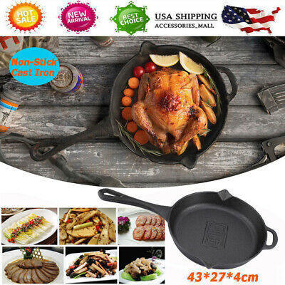 "Cast Iron Skillet Pan Pre-Seasoned 27cm/10.6"" Frying Pan for Gas Stove/Cooker US"