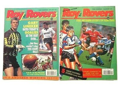 2 x ROY of the ROVERS COMICS. JULY & AUG 1991. HAMMERSMITH FC, GOALMOUTH etc